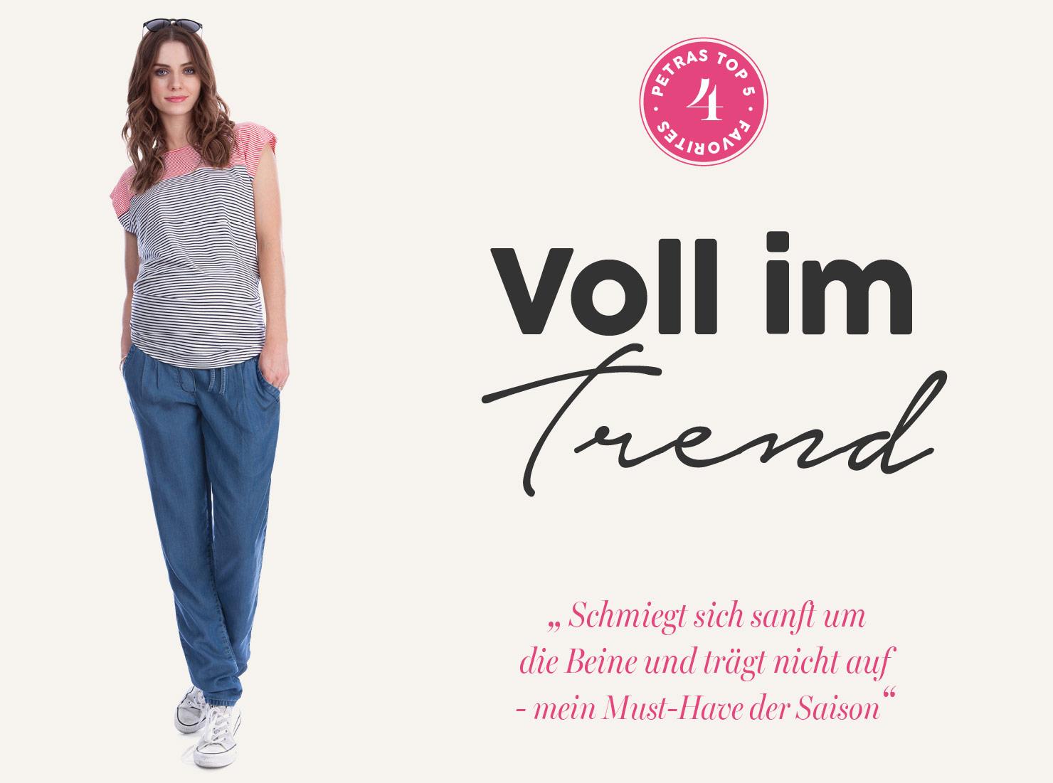 Lässige Umstandsmode: Hose im Jeans-Look