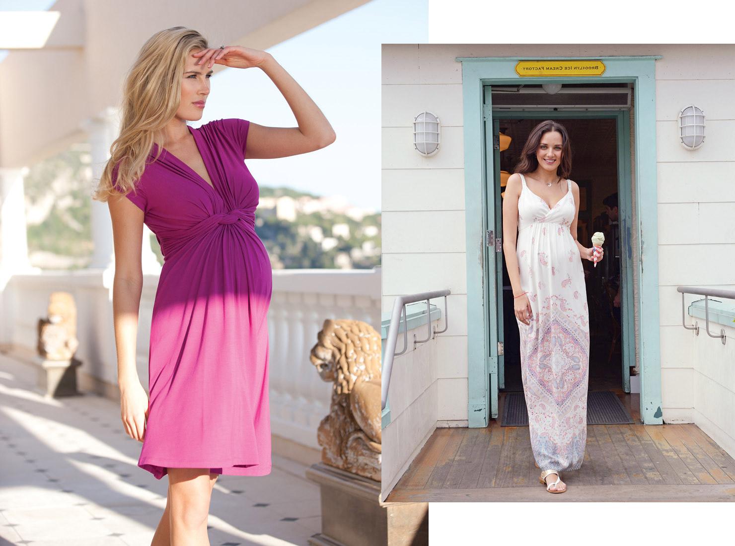 Umstandskleider für den Urlaub in sommerlichen Farben