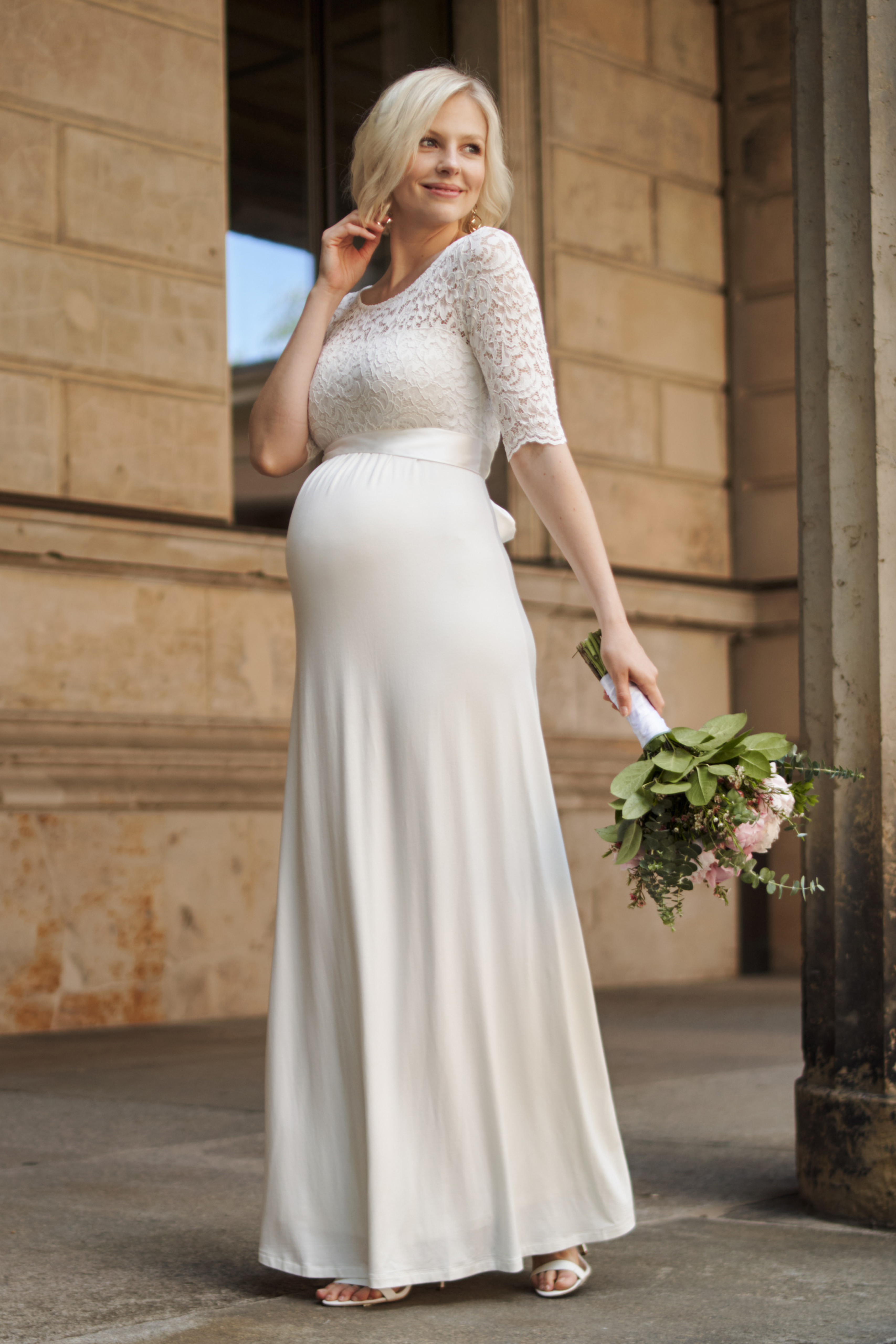Long Maternity Wedding Dress with Back Cut Out   Long Maternity ...