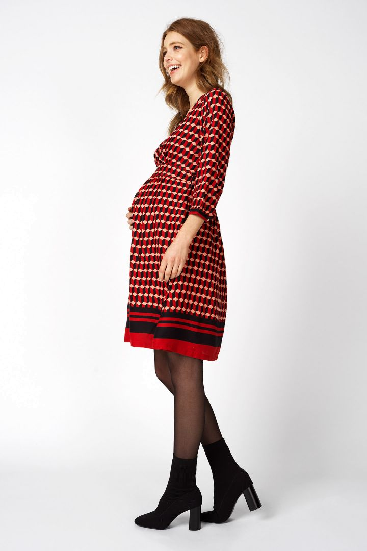 Maternity dress with floral pattern and 3/4 sleeves
