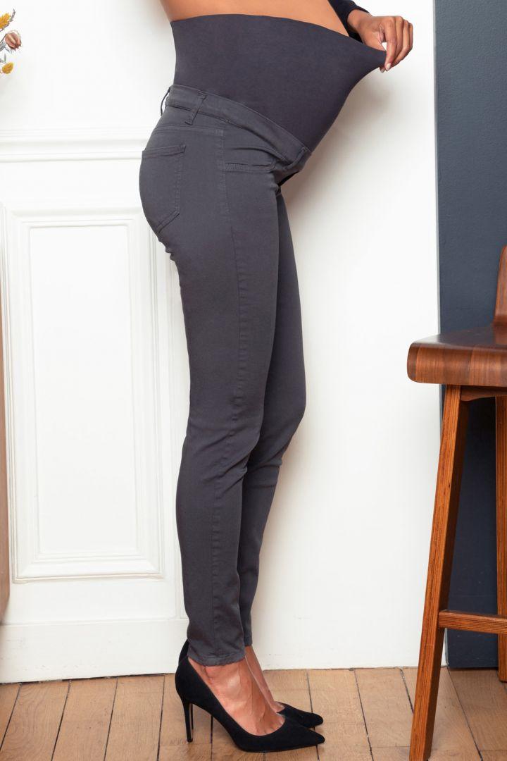 Skinny Stretch Umstandshose dunkelgrau