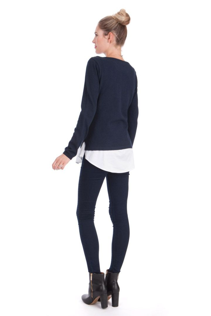 2-in-1 Umstandspullover und Bluse mit Still-Öffnung