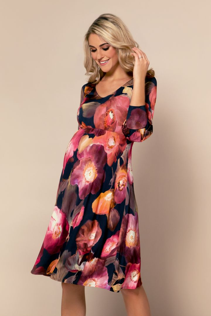 Maternity dress with bishop sleeves