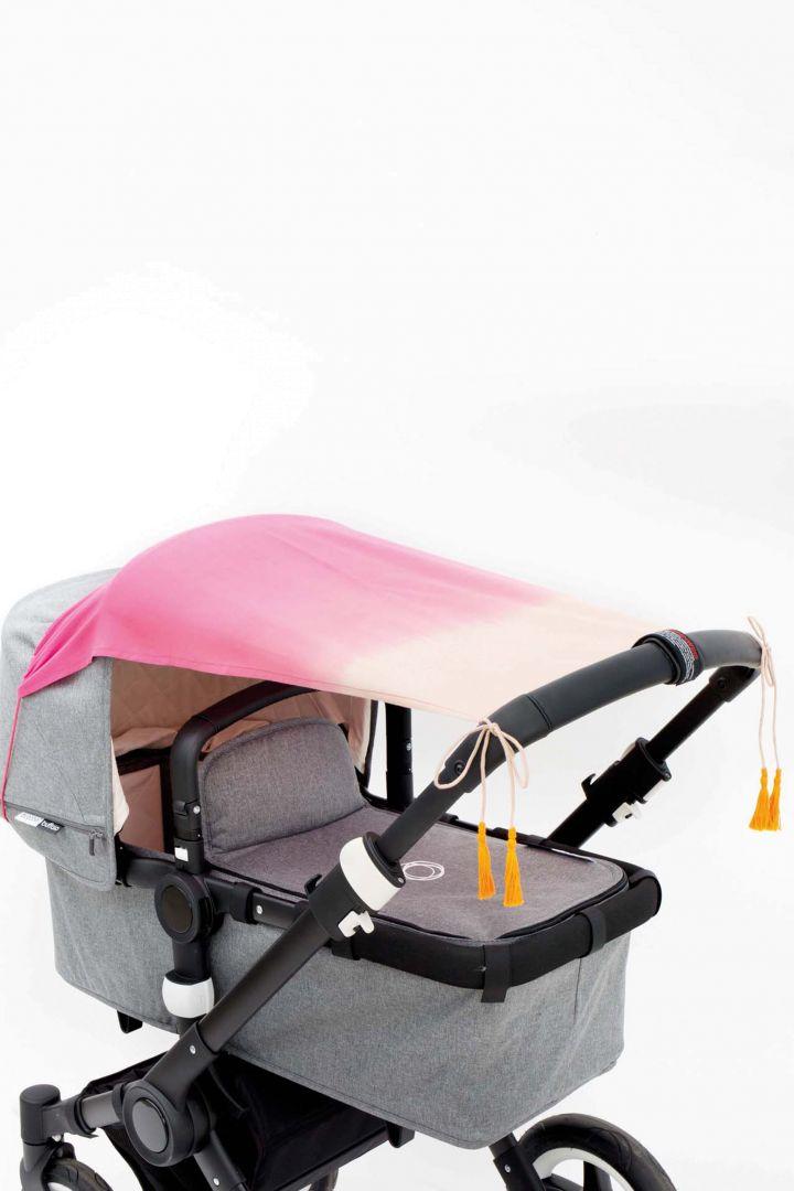 Kinderwagen Sonnenschutz pink in Dip Dye Optik