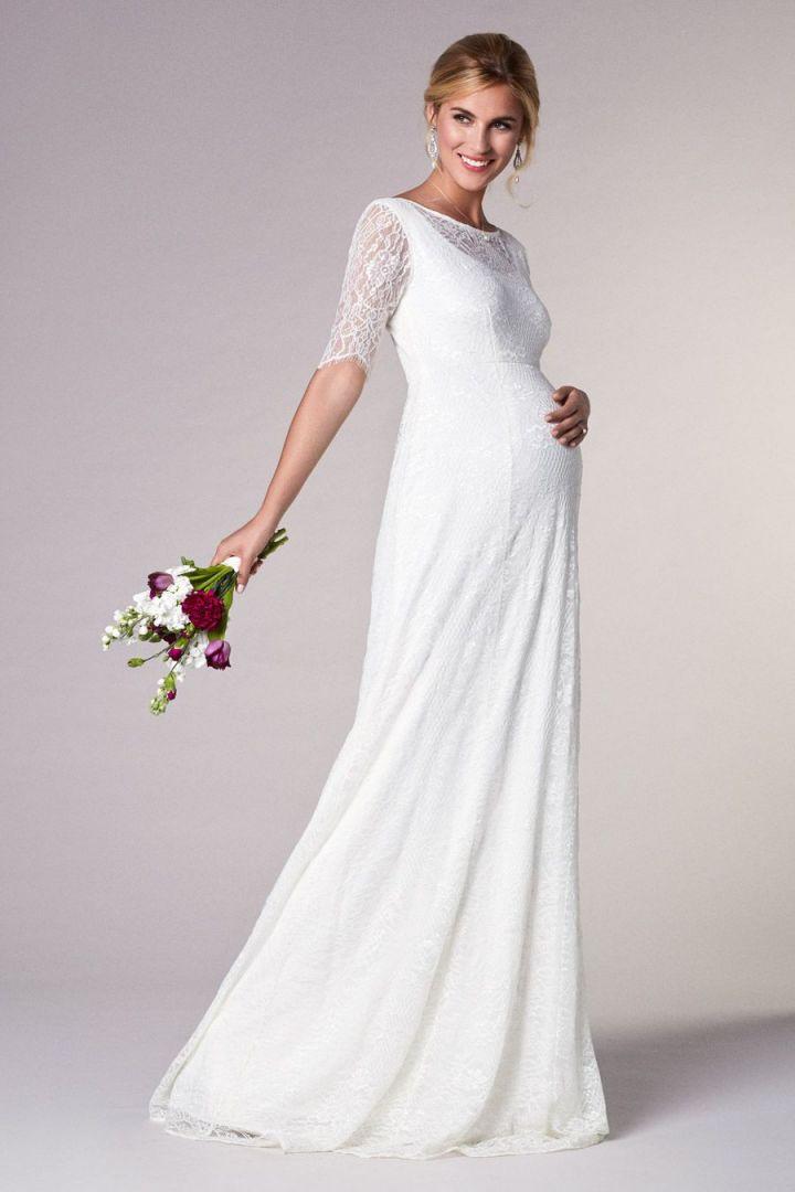 Long Wedding Maternity Dress with Sash