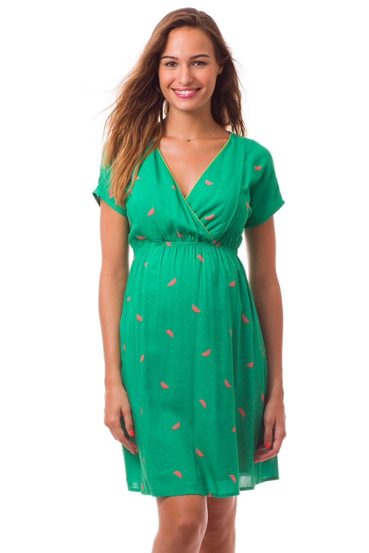 Maternity and Nursing Dress with watermelone print