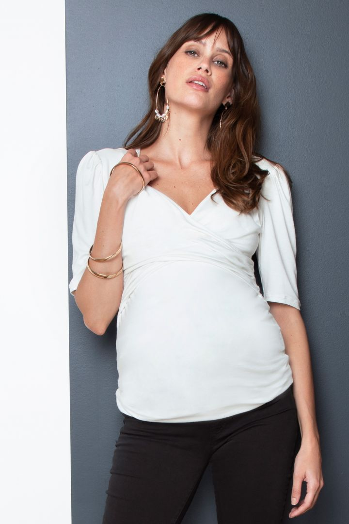 Maternity and Nursing Tunic with Wrap Neckline white