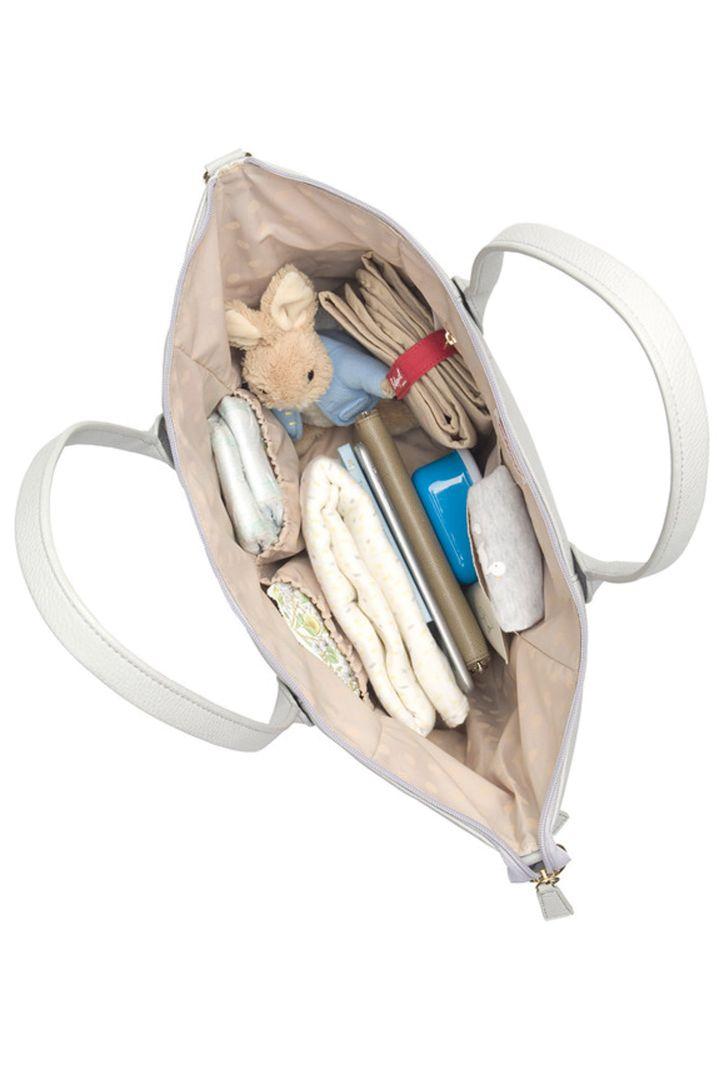 Babymel Wickeltasche aus veganem Kunstleder hellgrau