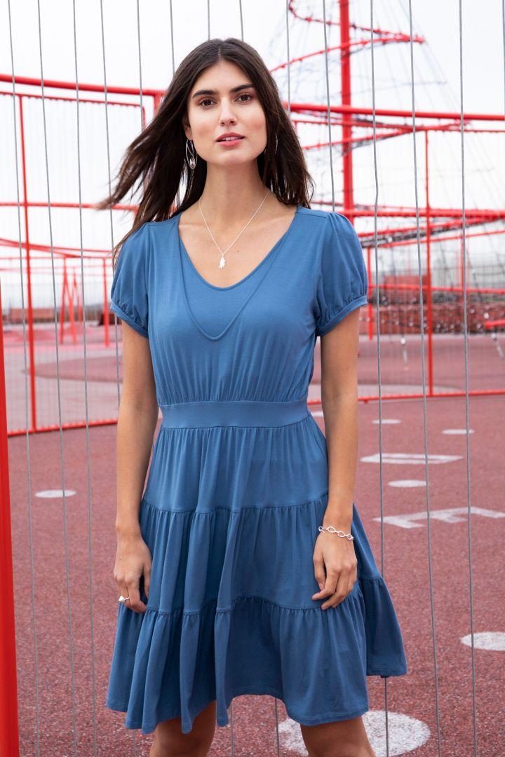 Organic Maternity and Nursing Dress with Flounces blue