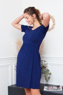 Umstands- und Stillkleid kurzarm blau