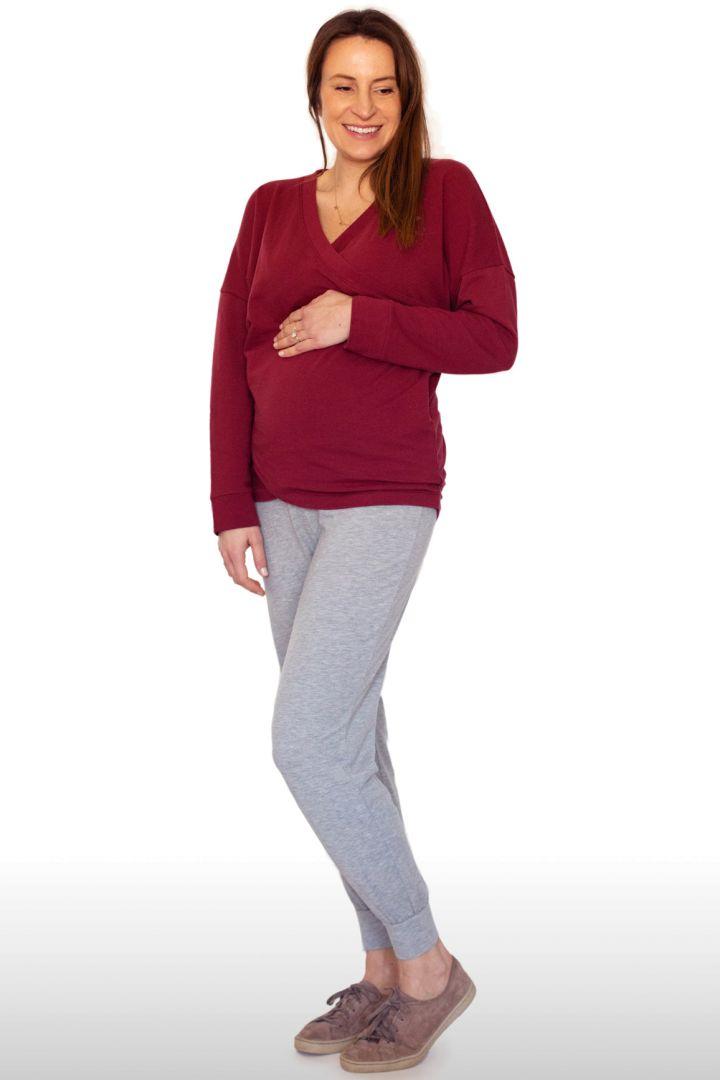 Cross-Over Maternity and Nursing Pyjama Shirt red
