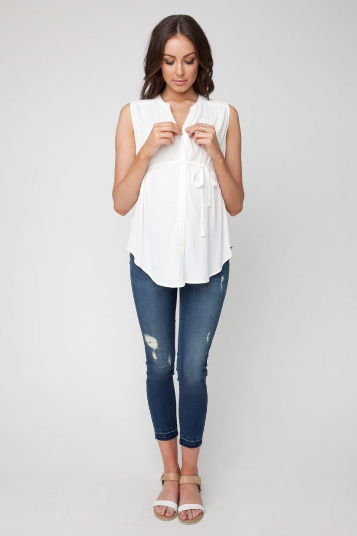 Maternity and Nursing Blouse sleeveless