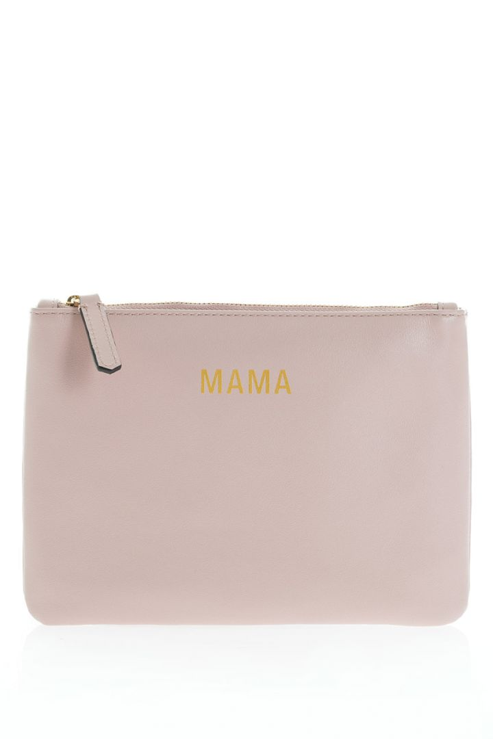 Mama diaper clutch made of leather, blush
