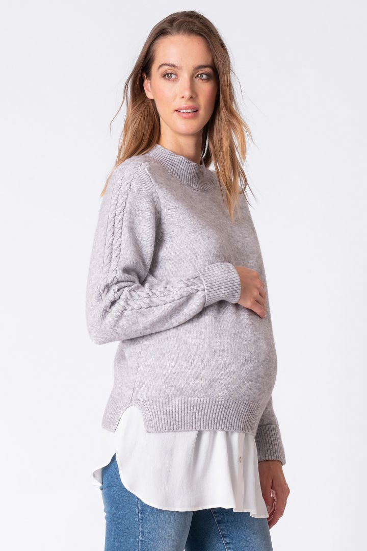 Braided Maternity and Nursing Jumper with Woven Blouse
