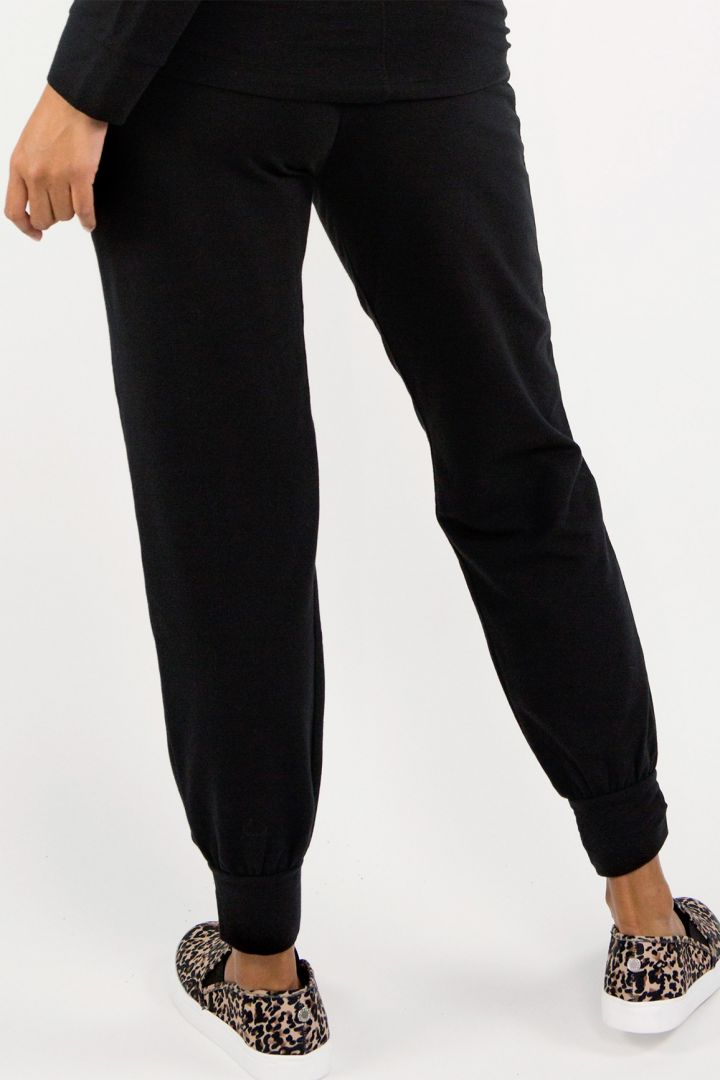 Foldover Umstands-Lounge und Pyjamahose schwarz