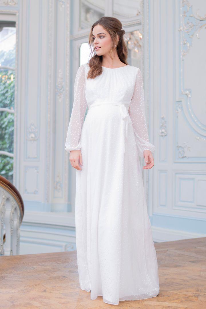 Long Devore Dot Bridal Gown