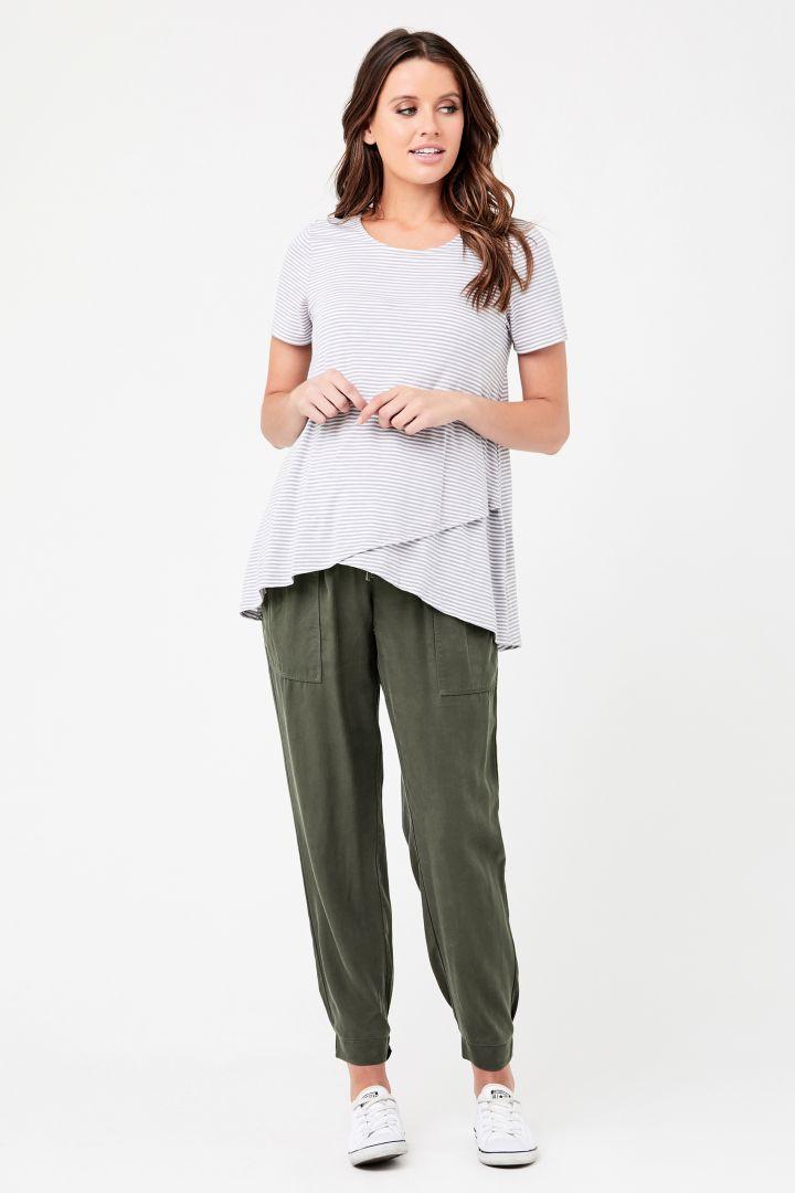 Tencel Off Duty Maternity Trousers khaki