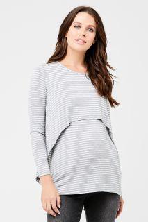 Swing Back Umstands- und Stillshirt grau-weiß