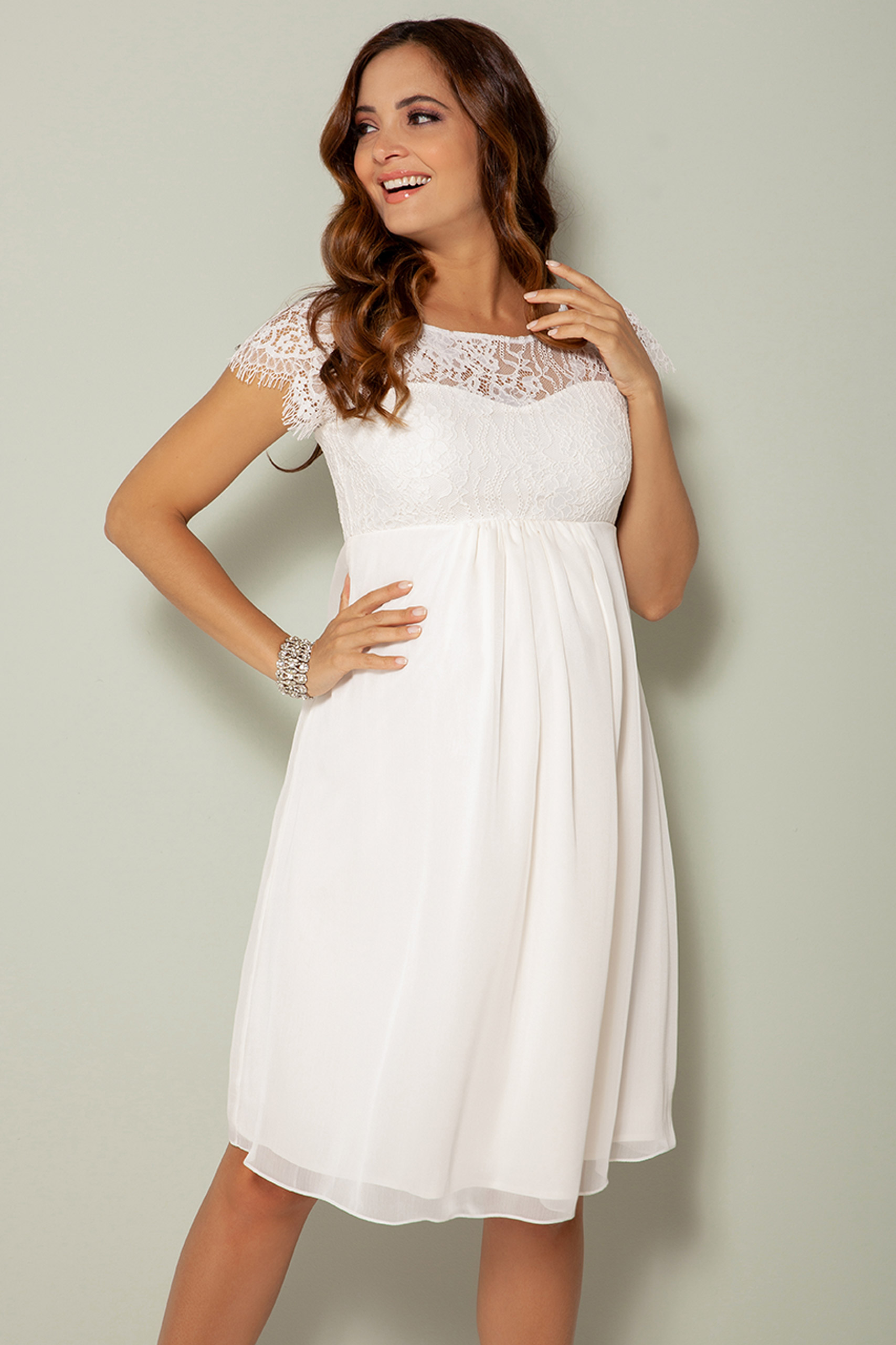 Maternity Wedding Dress with Lace Bodice ivory   Short Maternity ...