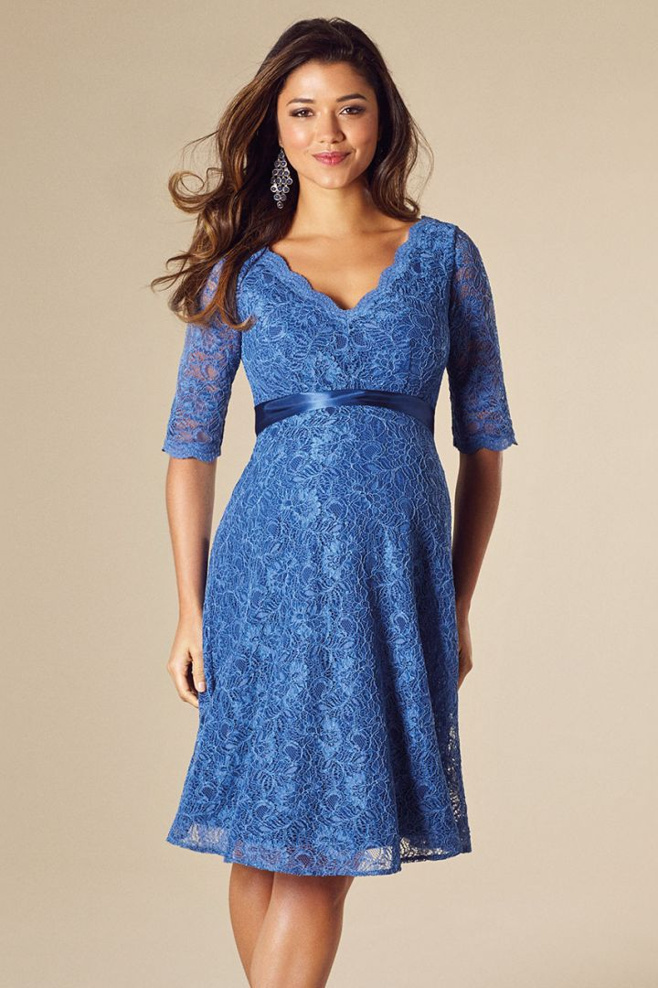 Maternity lace dress with scalloped neckline