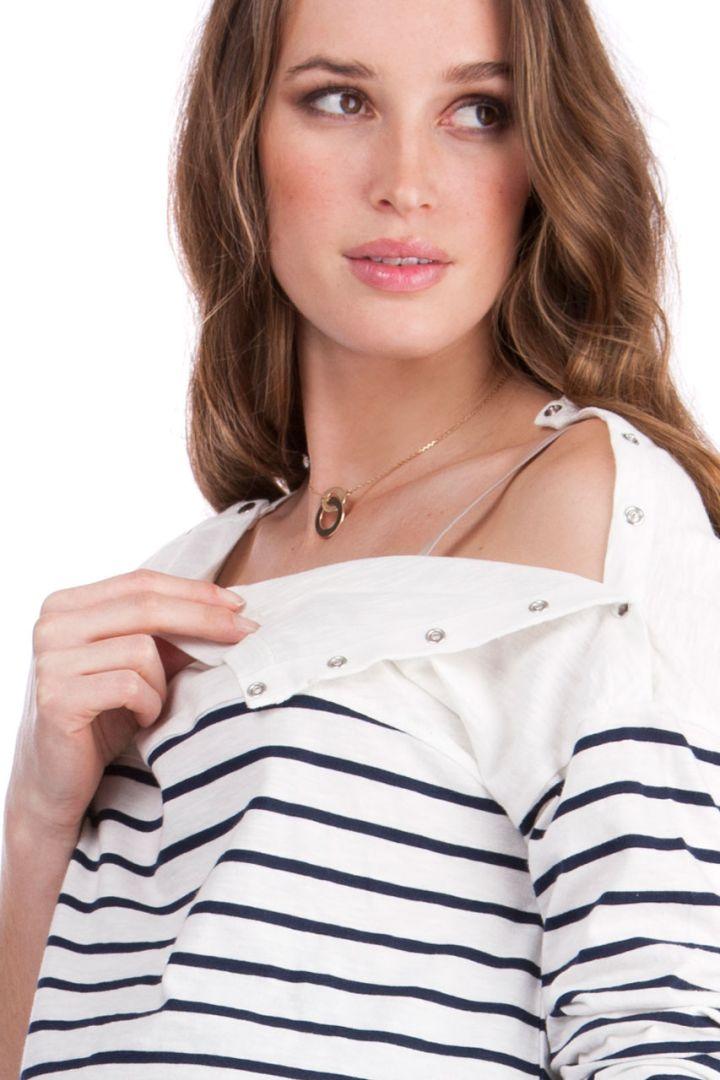 Umstands- und Stillshirt mit Streifen langarm