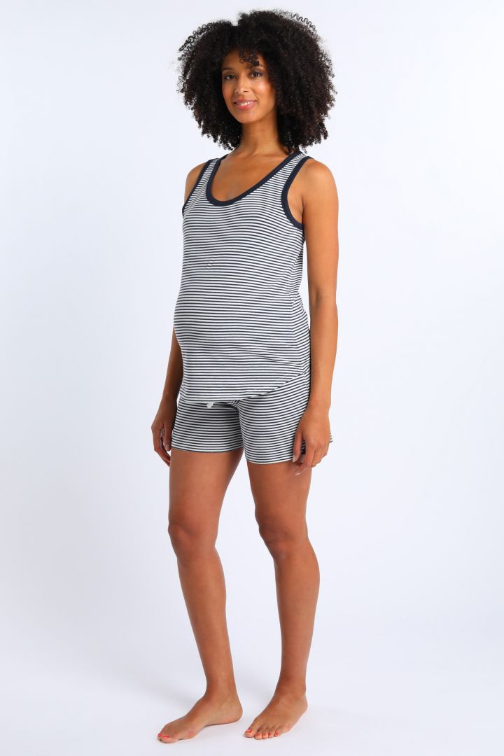 Striped Maternity and Nursing Top in Organic Cotton