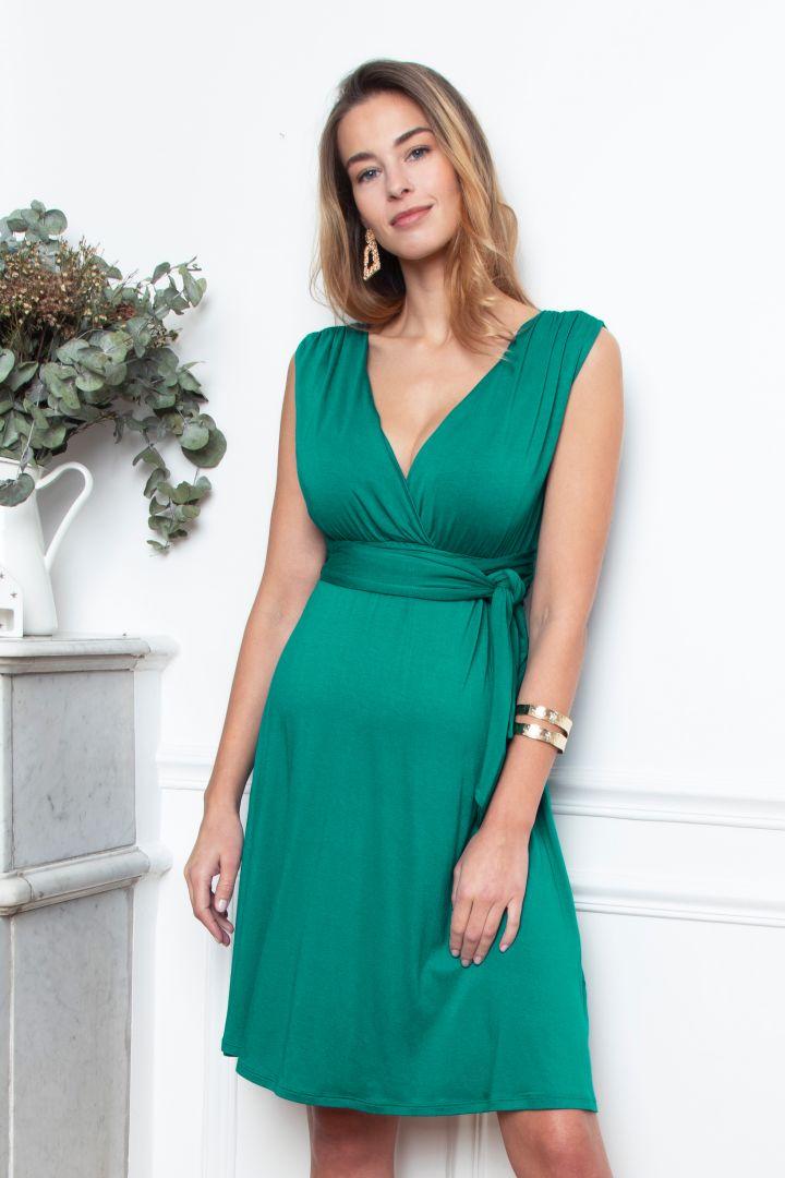 Short Maternity and Nursing Dress with Belt