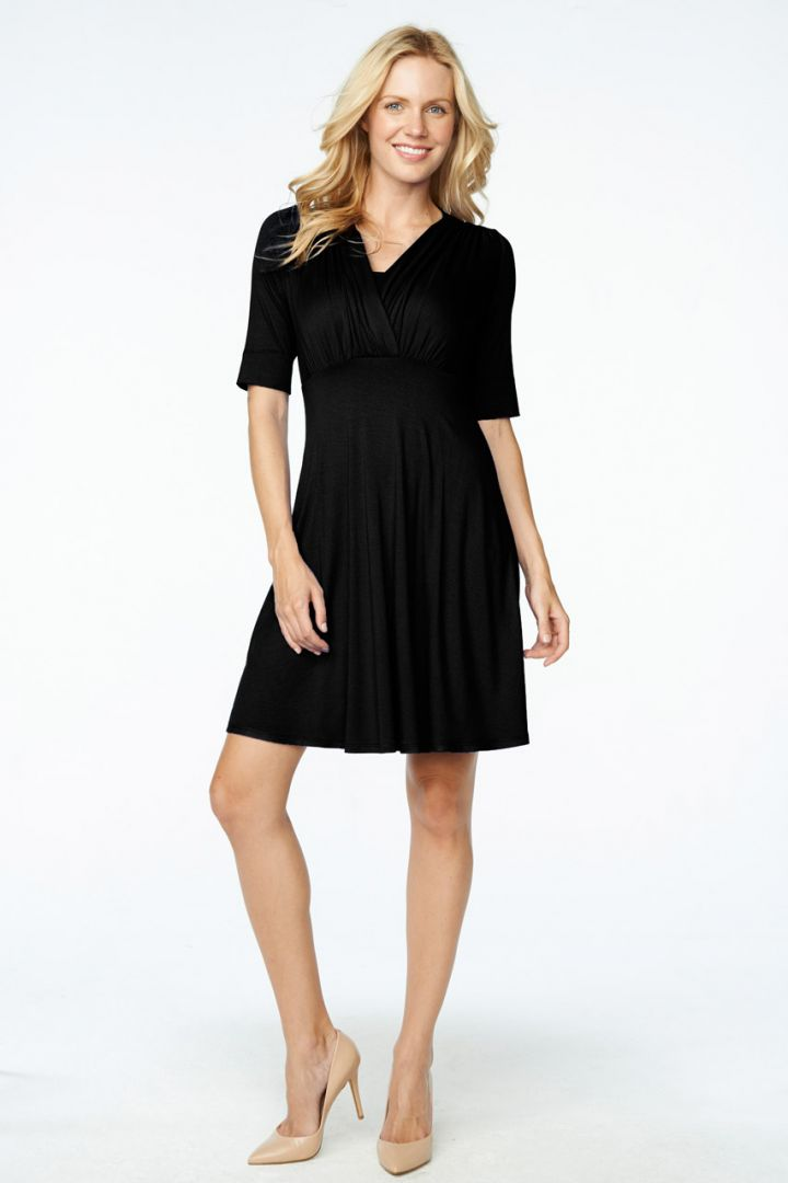 Bauch-Weg Still-Kleid kurzarm schwarz