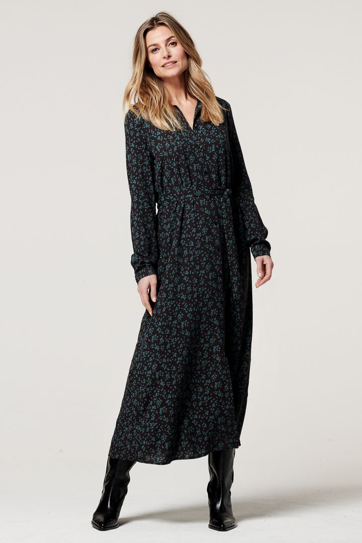 Long Maternity and Nursing Dress with Flower Print