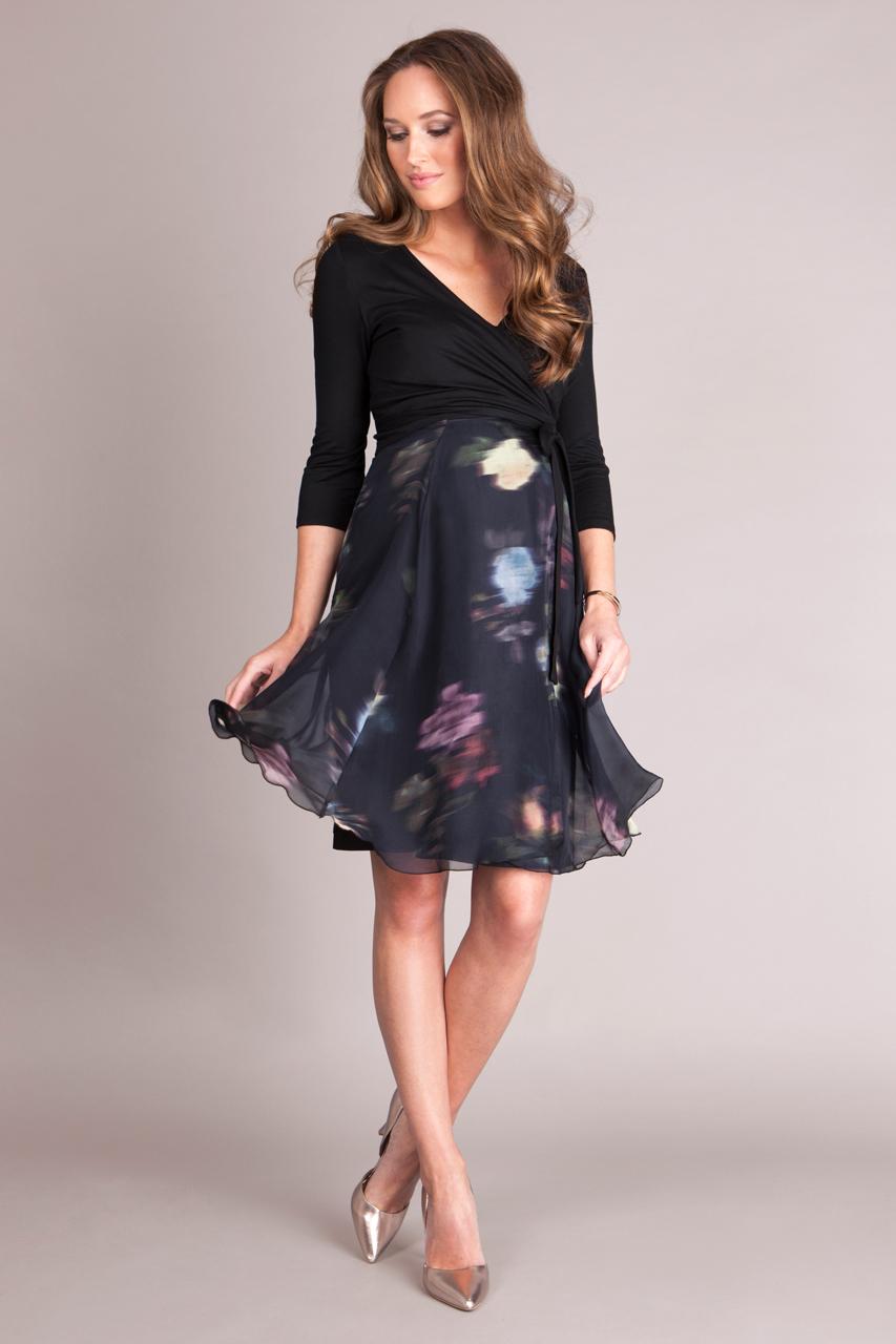online retailer 46c5a b4746 Umstands- und Stillkleid mit floralem Seidenrock kurz