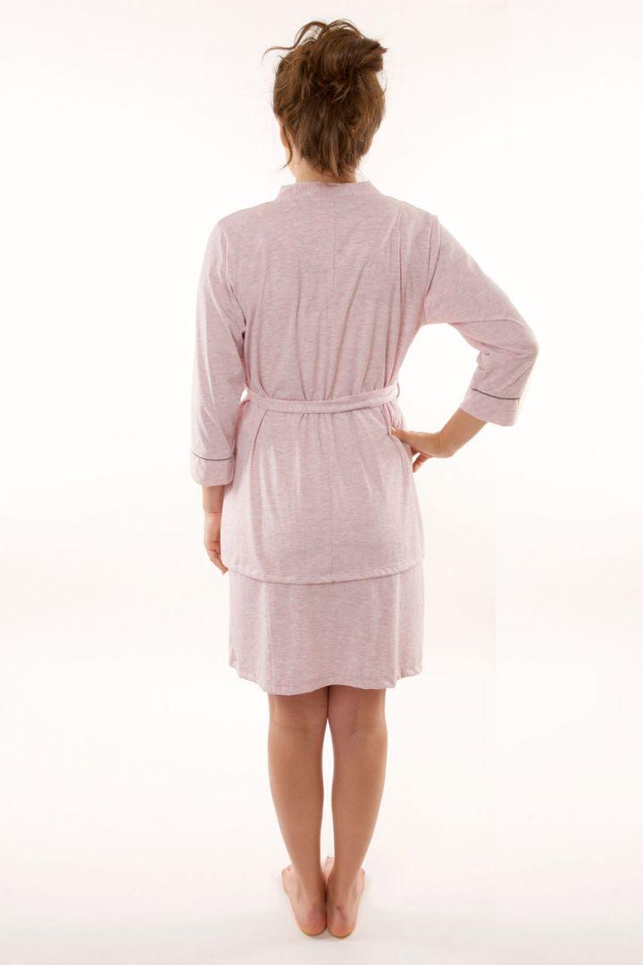 Umstands- und Stillnachthemd mit Morgenmantel rosa
