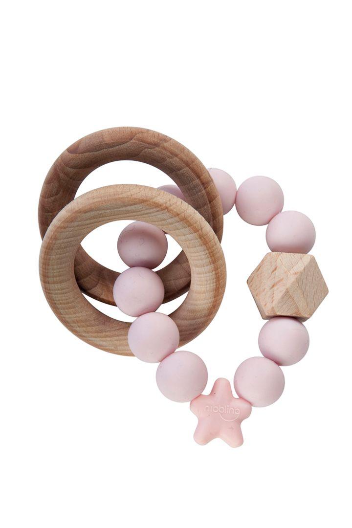 Holz-Greifling und Beißring Stellar rosa