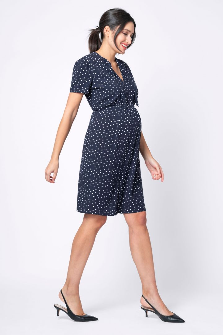 Spotted Maternity Dress with Tie Neck