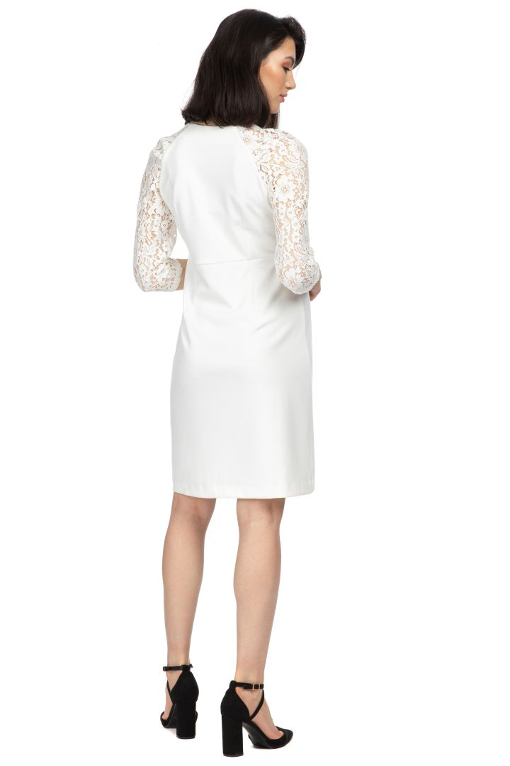 Short Maternity Wedding Dress with Lace ivory