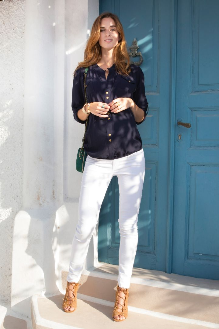 Slim Fit Maternity Trousers with Seamless Band white