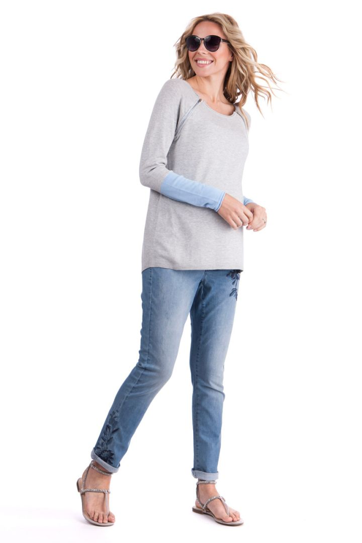 Embroidered Boyfriend Maternity Jeans