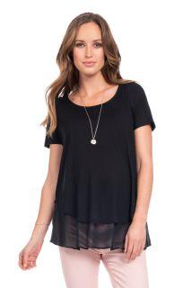 Zweilagiges Umstands- und Stillshirt schwarz