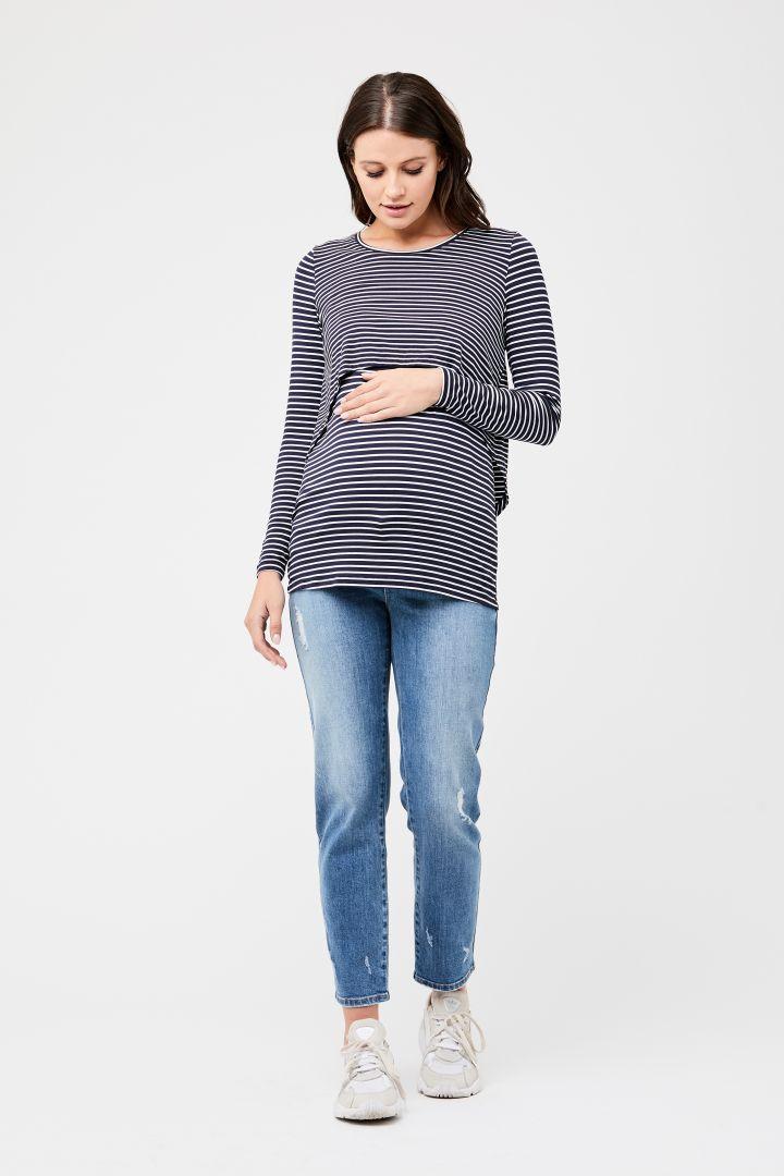 Swing Back Maternity and Nursing Shirt indigo/white
