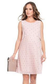 Umstands- und Stillkleid mit Plisseerock rosa