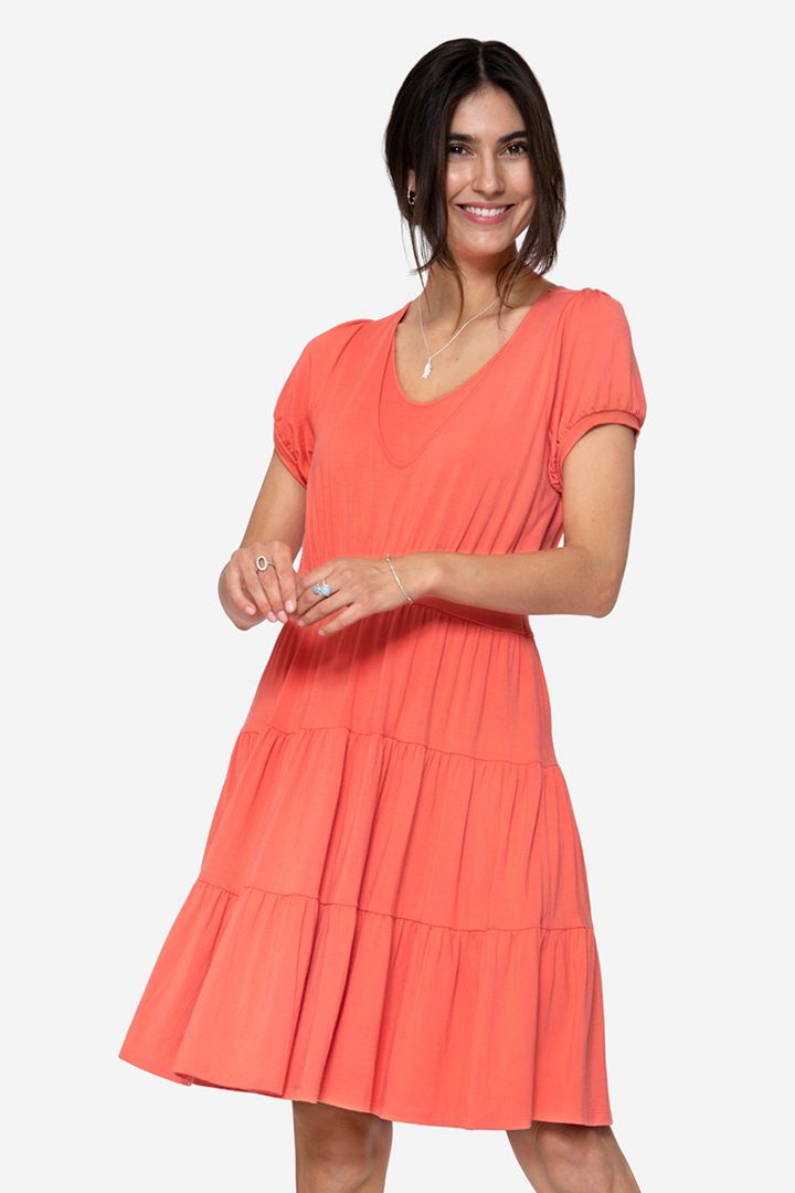 Organic Maternity and Nursing Dress with Flounces coral
