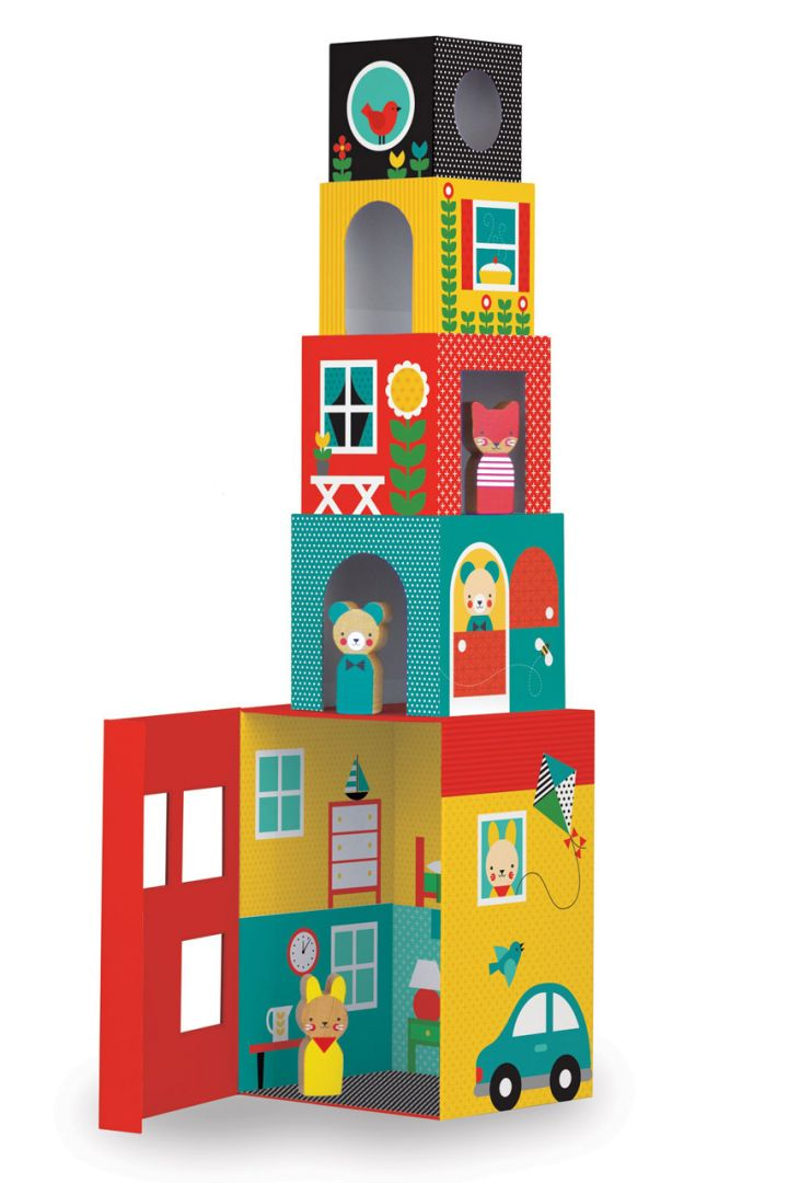 Animal house stacking tower with 3 wooden animals