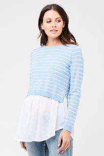 2- in -1 Umstandspullover und Bluse mit Stillöffnung hellblau