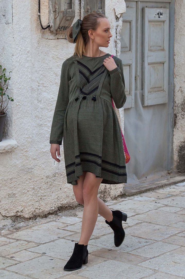 Maternity and Nursing Dress with Tassels olive