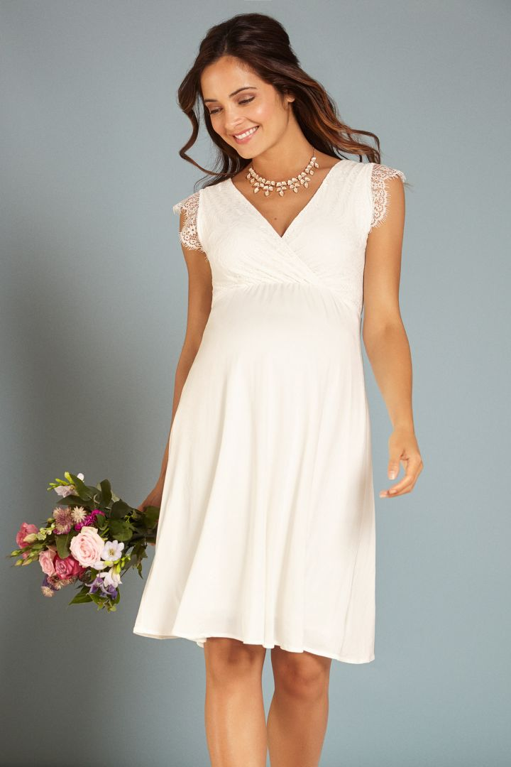 Maternity and nursing dress with lace bustier