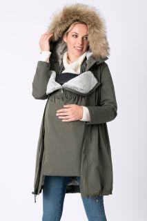 Premium Umstandsparka mit Babyeinsatz khaki