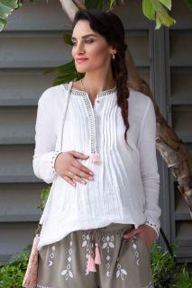 Umstands- und Still-Tunika mit Biesen weiß