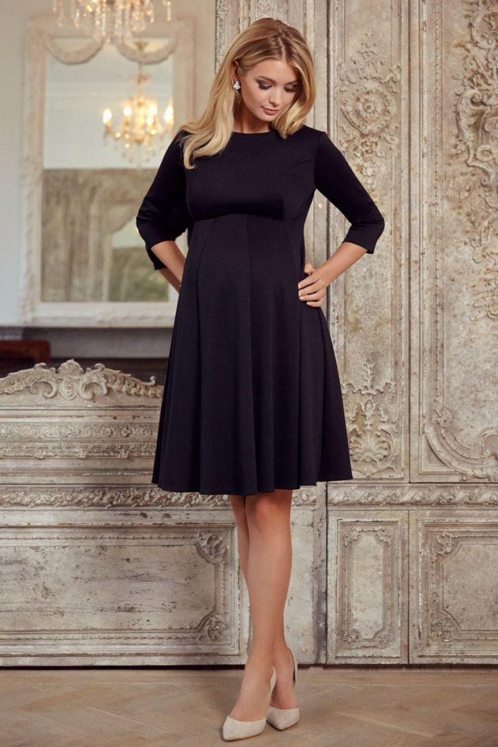 Maternity dress with submarine neckline black