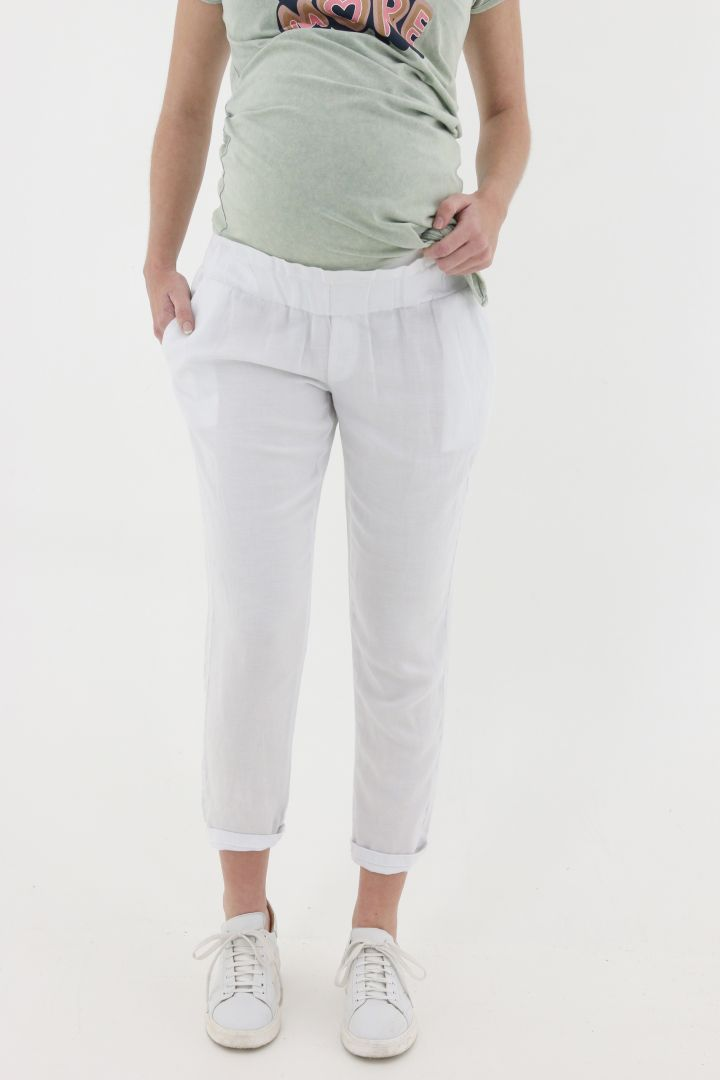 7/8 Linen Maternity Trousers white