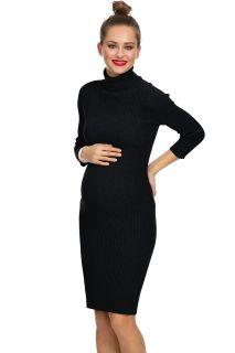 Rippstrick Umstandskleid mit Rollkragen schwarz