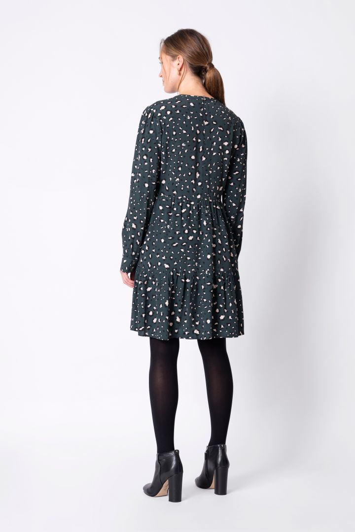 Long Sleeve Tired Maternity Dress with Animal Print